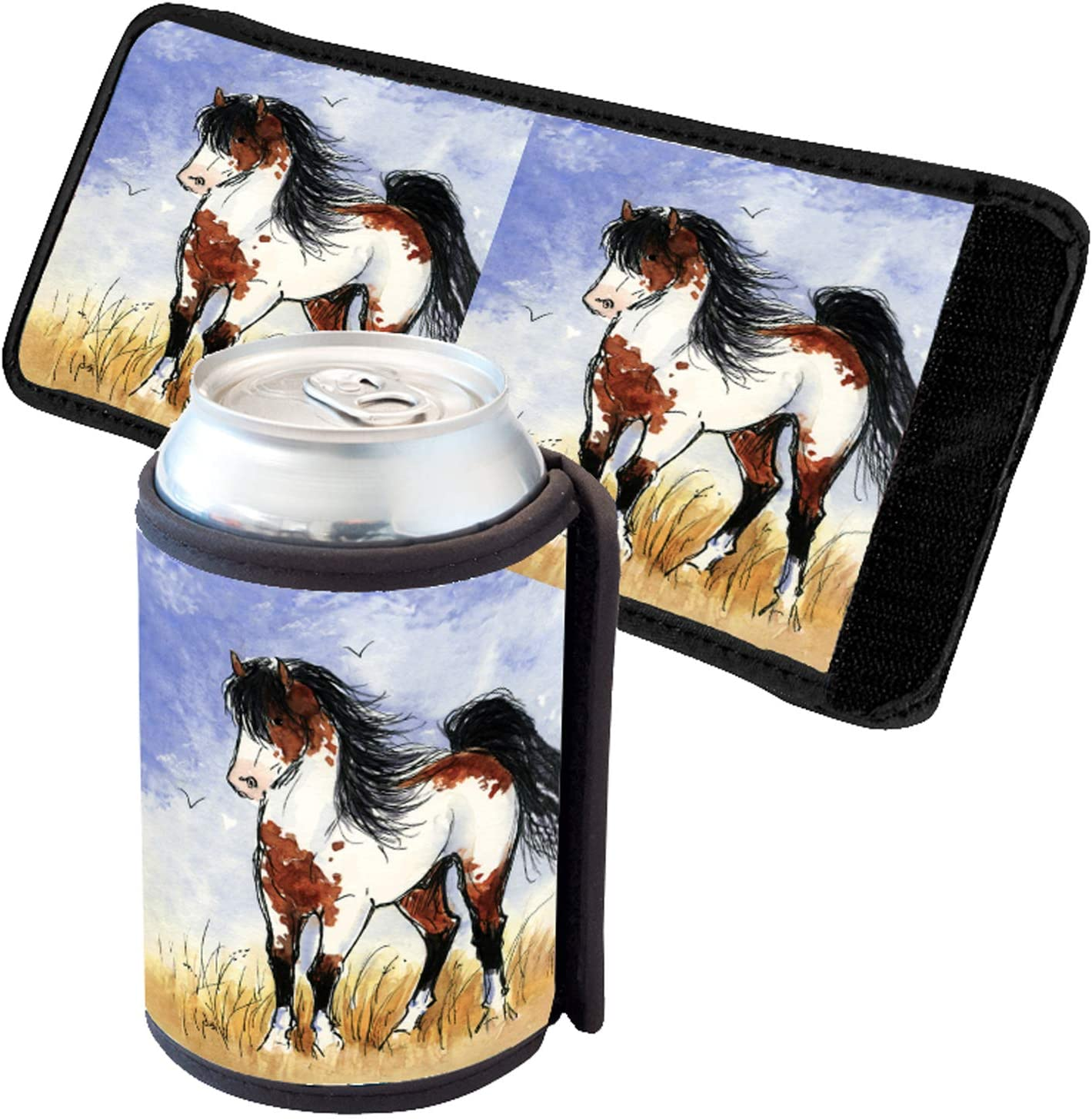 Sunshine Cases Bay Pinto Mustang Stallion Horse Art by Denise Every Insultated Beverage Can Cooler Thermal Bottle Wrap
