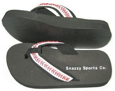 Snazzy Sports Co. Baseball Seam Flip Flops Medium (7-8)