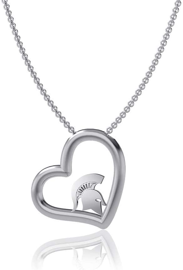 Dayna Designs Michigan State University Heart Necklace, Spartans Logo - Sterling Silver Jewelry Small for Women/Girls