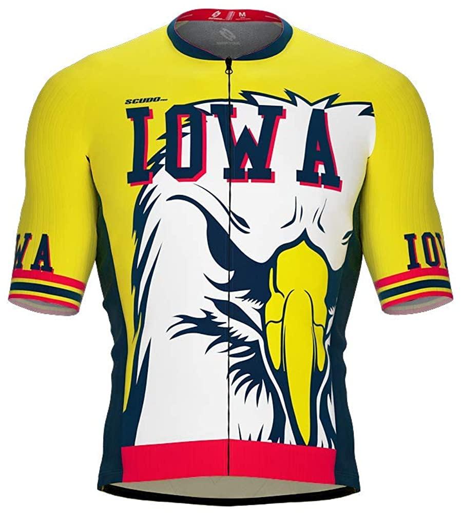 ScudoPro Pro-Elite Short Sleeve Cycling Jersey Iowa USA State Icon Landmark Symbol Identity for Men