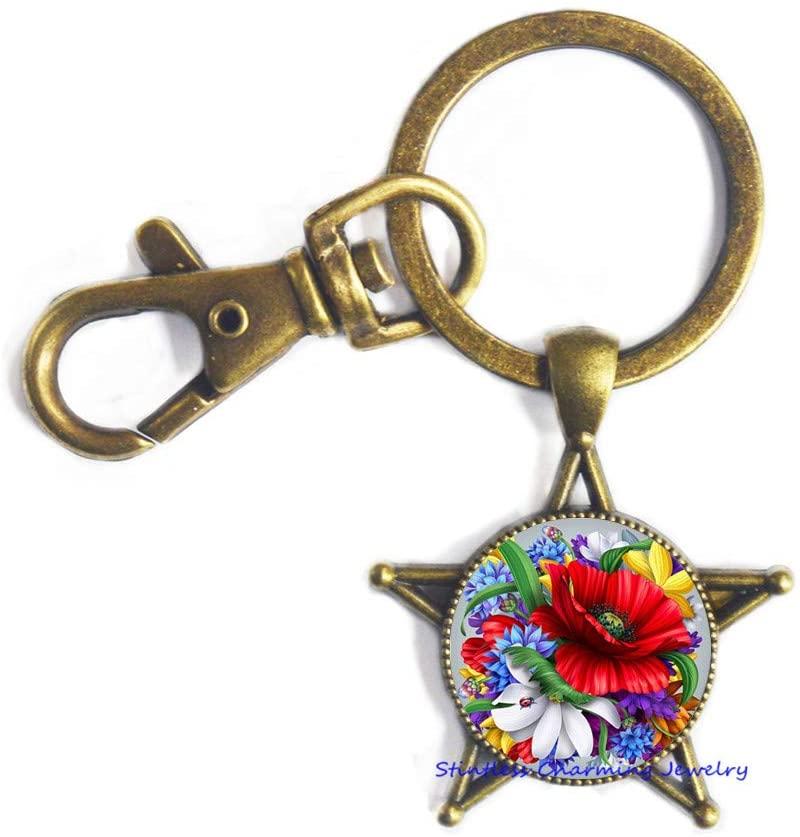 Rose Flower Keychain,Rose Charm Key Ring,Nature Jewelry,Gift for Her, Besties Gift Wedding, Flower Keychain-JV47