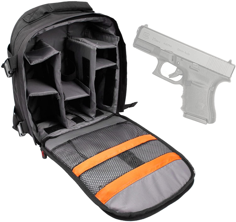 DURAGADGET Glock 29/29 Gen4 Handgun Carry/Storage Bag - Premium Quality, Water-Resistant Backpack with Customizable Interior & Raincover for Glock 29 Pistol