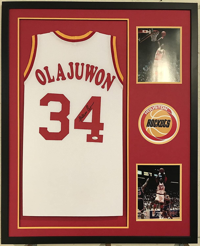 Hakeem Olajuwon Autographed Custom Framed Houston Rockets Jersey JSA Witnessed COA