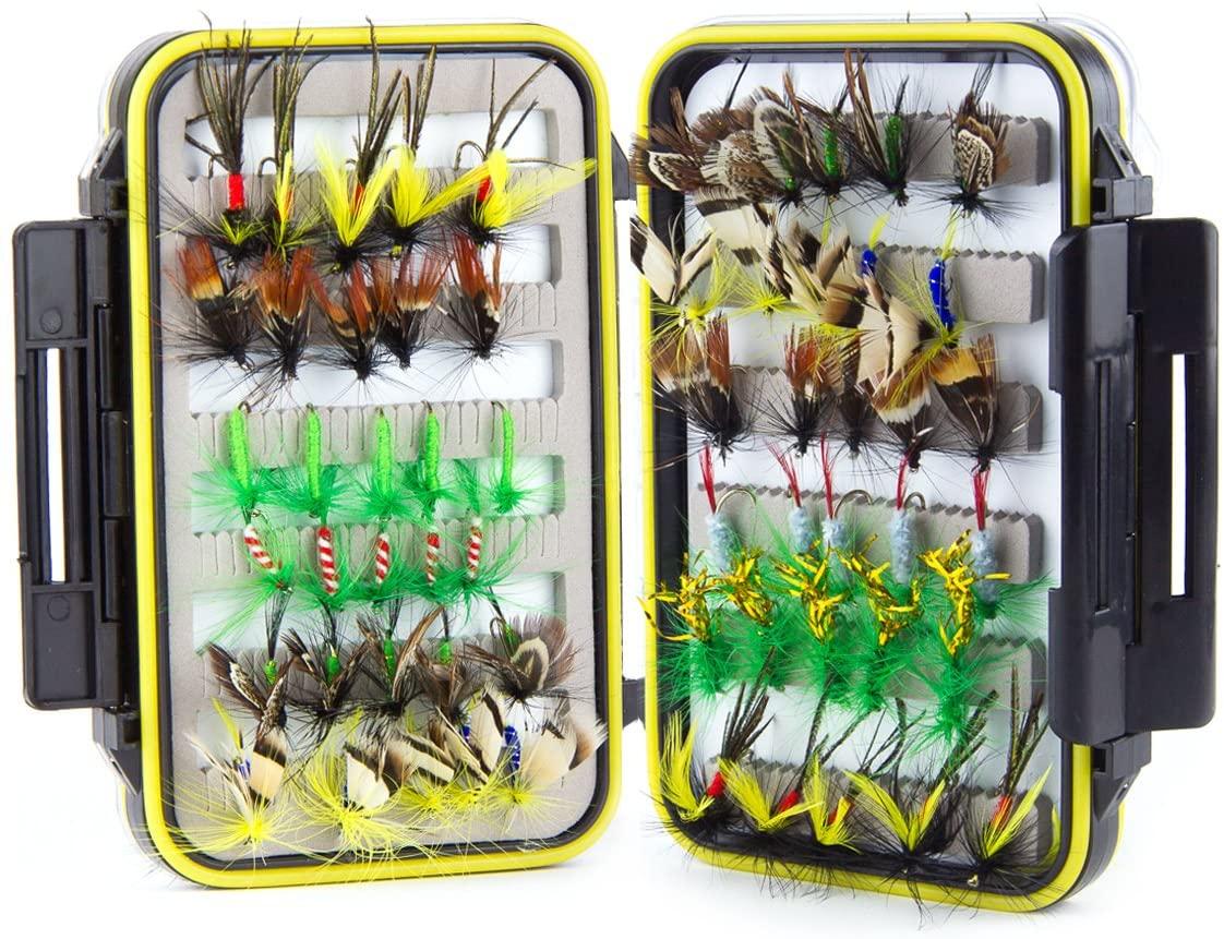 Fly Fishing Lures Kit 60pc, Fisherman Set for Men Women Kids, Wet Dry Flies Streamer Nymph Butterfly Gear - Waterproof Fly Tackle Box
