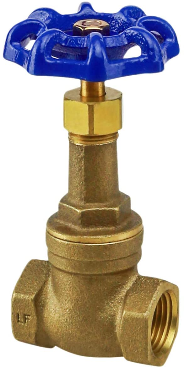Midline Valve I44U234 Long Bonnet Gate Valve with Wheel Handle, Heavy Duty, Lead Free, Water Shutoff 1/2 in. FIP Connections, Cast Brass