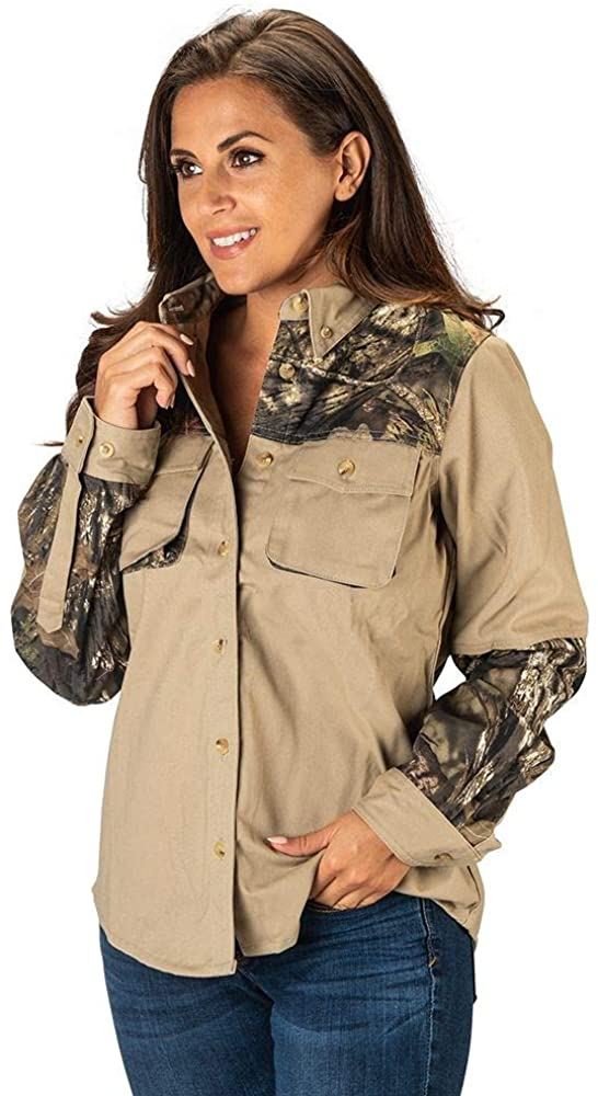 TrailCrest Women's Signature Cotton Twill Rugged Field Hunting Shooting Shirt, Mossy Oak Camo