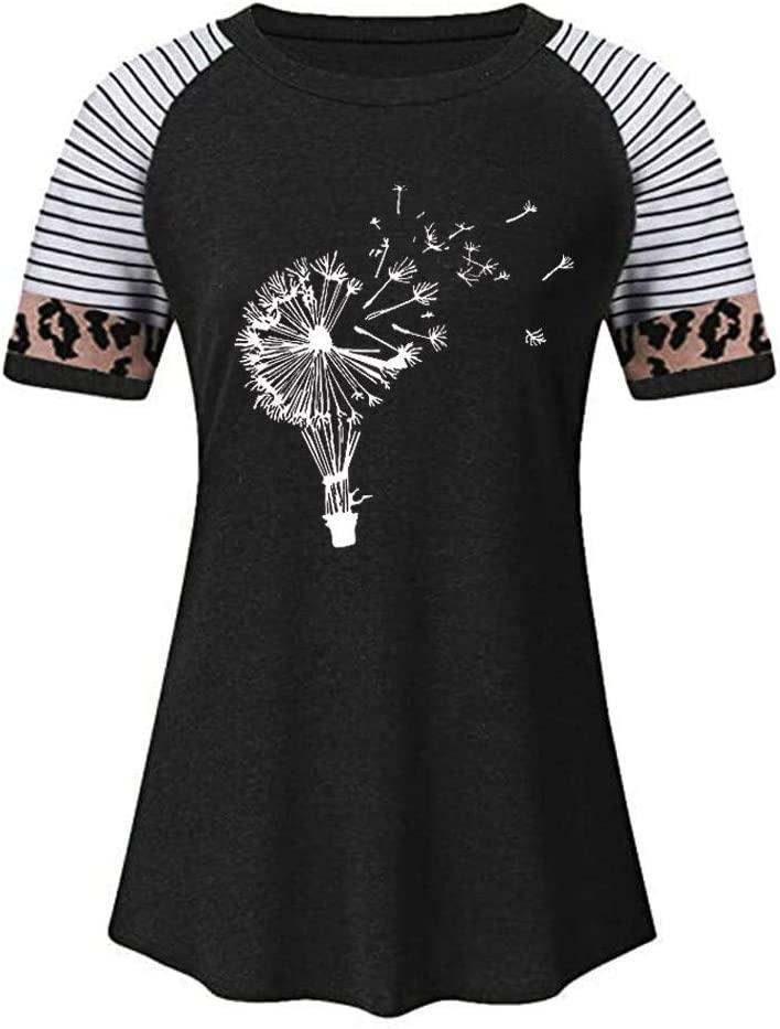 Moxiu Women Leopard Short Sleeves O-Neck Printed Casual Tops T-Shirt