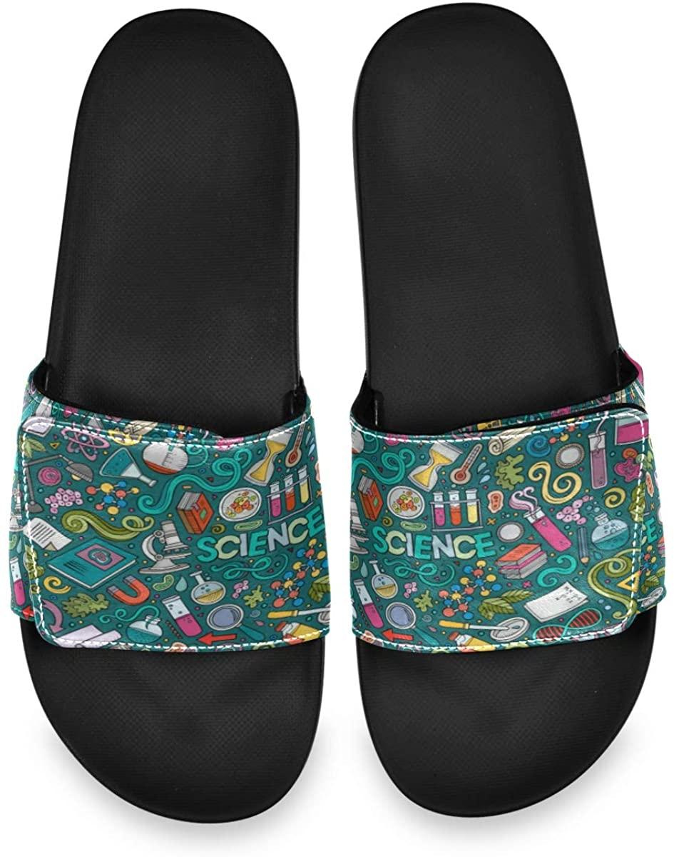 Drawn Science Mens Leather Slide Sandals Summer House Velcro Slippers Non Slip Boys