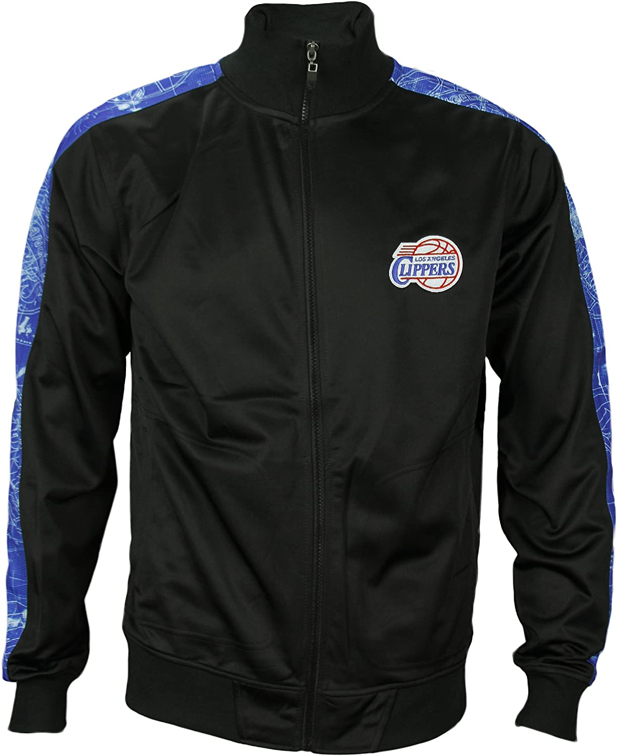 Zipway Los Angeles Clippers NBA Mens Blue Print Track Jacket - Black