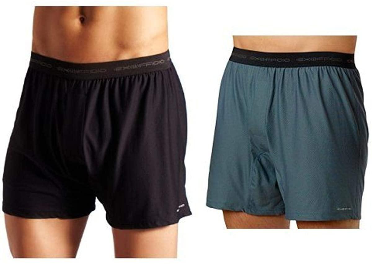 ExOfficio Men's Give-N-Go Boxer,Black,Large and ExOfficio Men's Give-N-Go Boxer,Charcoal,Large Bundle