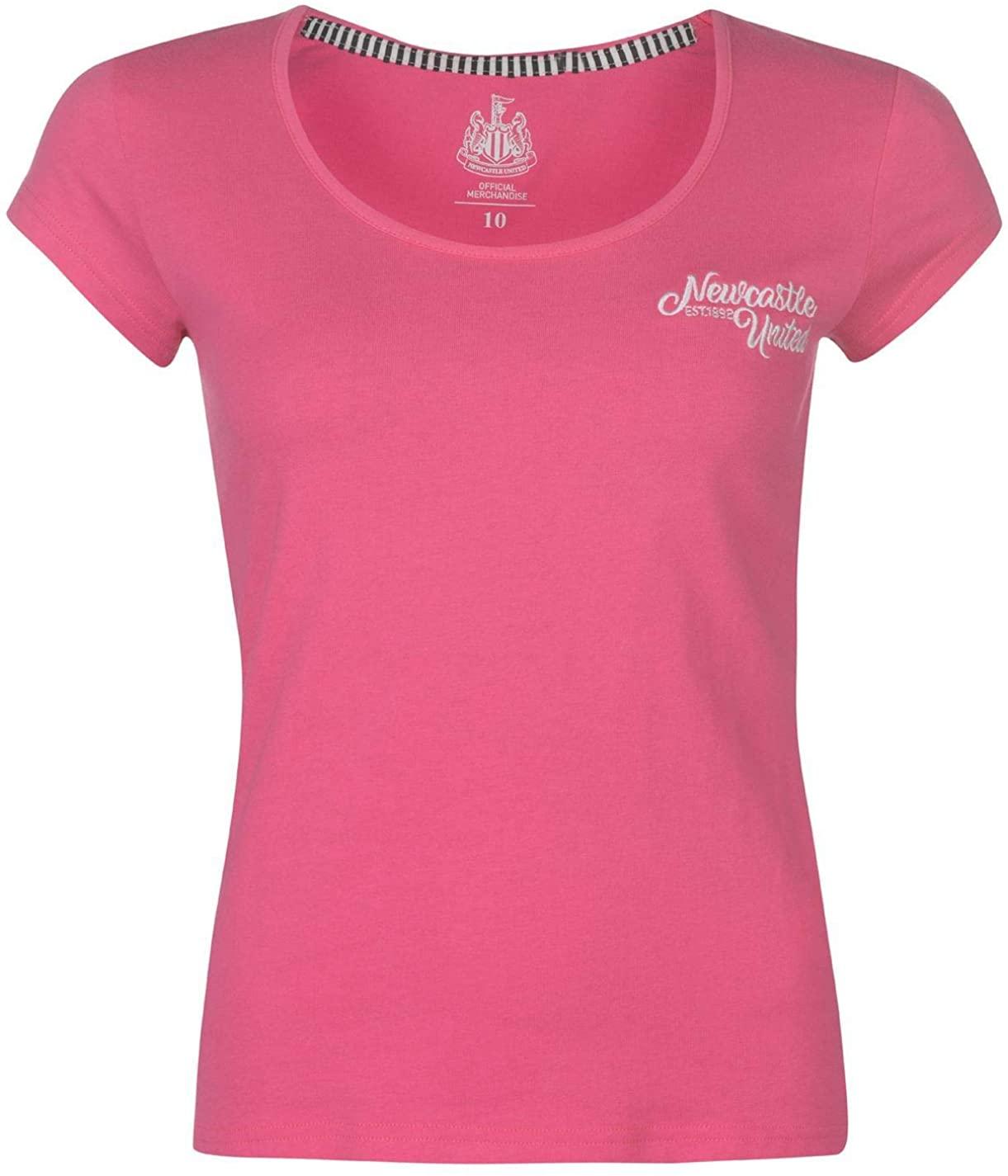 NUFC Newcastle United Script T-Shirt Womens Football Soccer Fan Top Tee Shirt Pink UK 8 (X-Small)