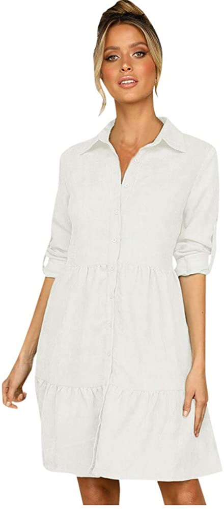 DRAGONHOO Women's Large Swing Lapel Single-Breasted Shirt Dress Sleeves Solid Color Shirt
