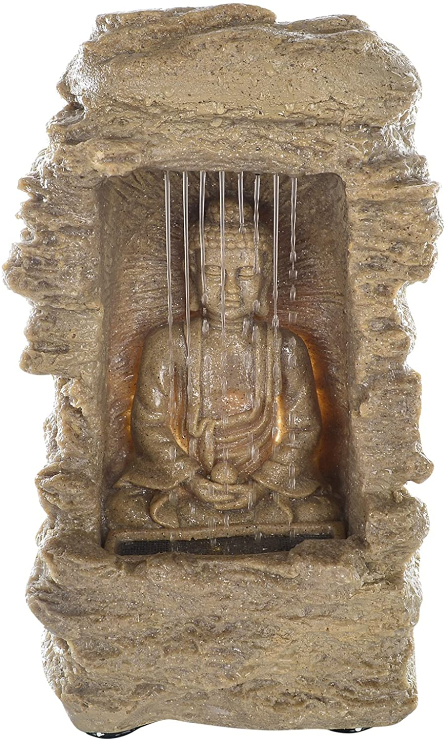 JB KIARA TEXTILES Buddha Tabletop Water Fountain for Indoor and Outdoor Green
