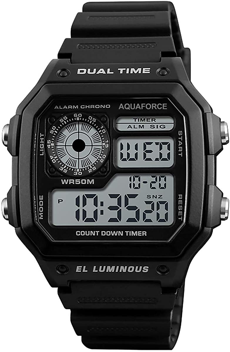 Aqua Force Dual Time Rugged Tactical Combat Watch (50M Water Resistant)