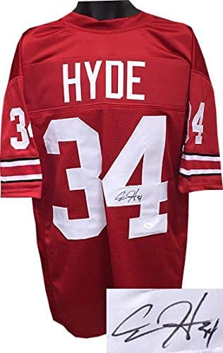 Signed Carlos Hyde Jersey - Red Custom Stitched #34 XL number bleed Hologram - JSA Certified - Autographed NFL Jerseys