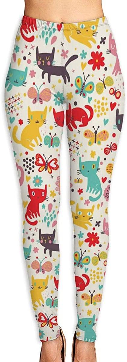 Girl Yoga Pants Leggings Funny Butterflies Cats Running Workout Pilates Long Trousers Dance Gym