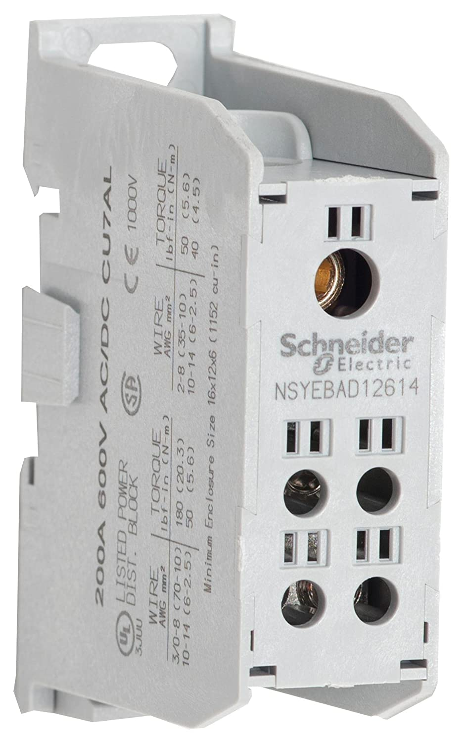 SQUARE D BY SCHNEIDER ELECTRIC, NSYEBAD12614, Panel Mount Barrier Terminal Block, 200 A, 600 V, 5 Pole, 1, 3 AWG