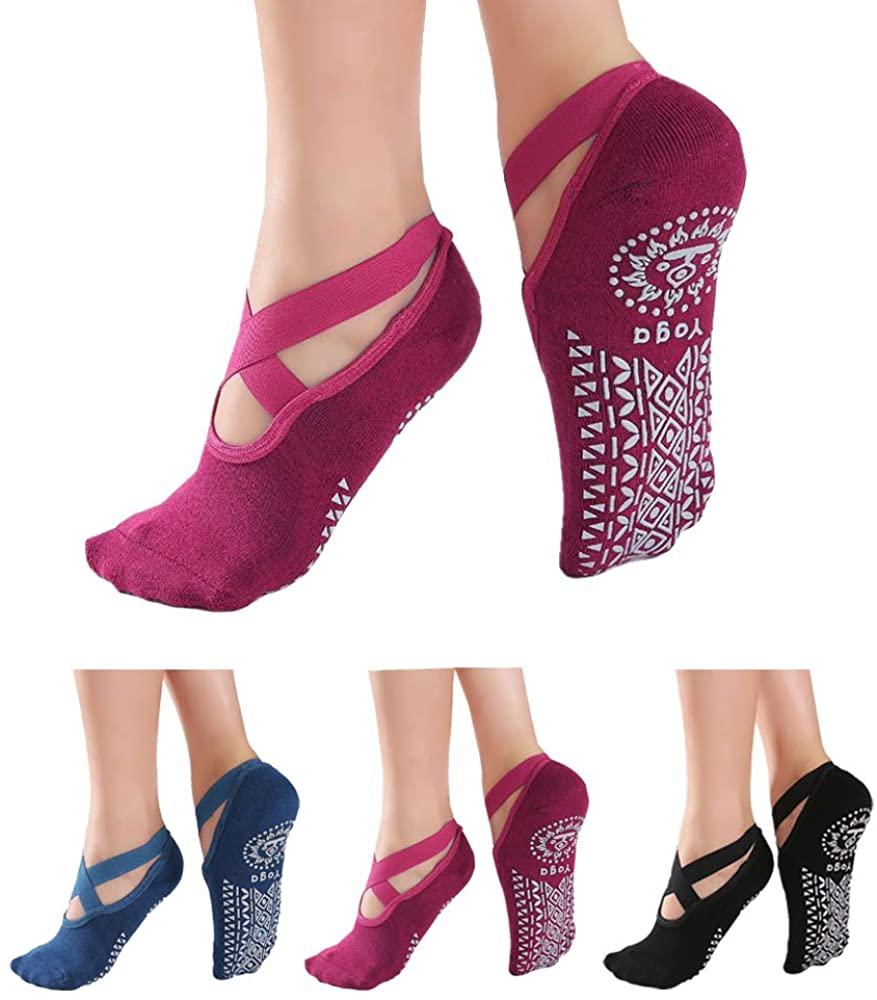 Yoga socks for Women - Non Slip Grips with Straps, Ideal for Home & Indoor Yoga, Ballet ,Pilates, Barre, Dance (3 Pack)