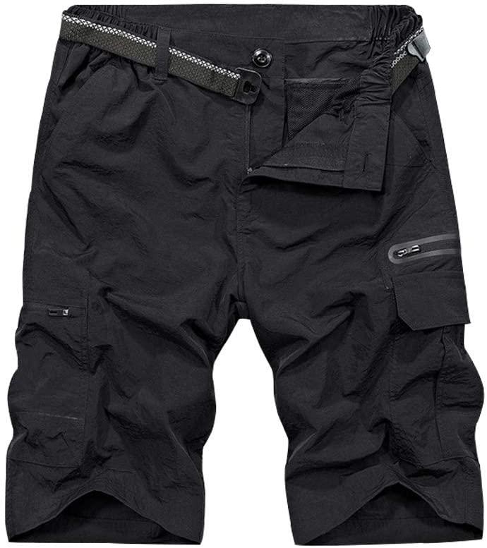 Asfixiado Mens Stretch Hiking Shorts Shorts,Quick Dry Lightweight Expandable Waist Sports Casual Shorts