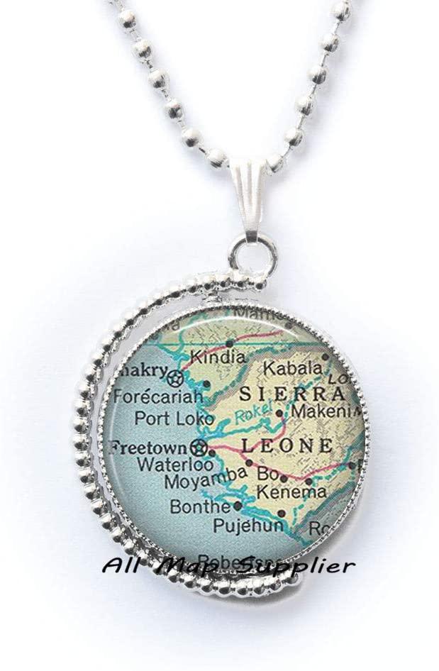 AllMapsupplier Fashion Necklace Sierra Leone map Pendant,Sierra Leone Fashion map Jewelry,Sierra Leone map Necklace,Adoption Pendant,A0014