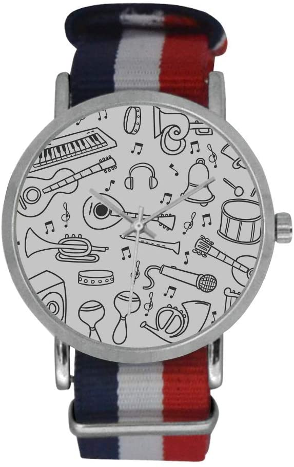 QUICKMUGS2U Musical Instruments Collection Men's Stainless Steel Classic Large Face Quartz Analog Business Wrist Watch Striped Nylon Band