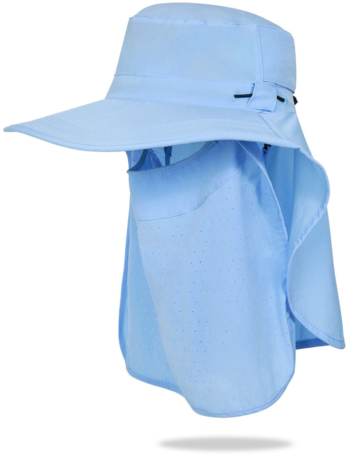 Pumkeril Fishing Sun Hat with Face Cover Neck Flap Unisex Wide Brim UPF 50+ Adjustable Visor Cap