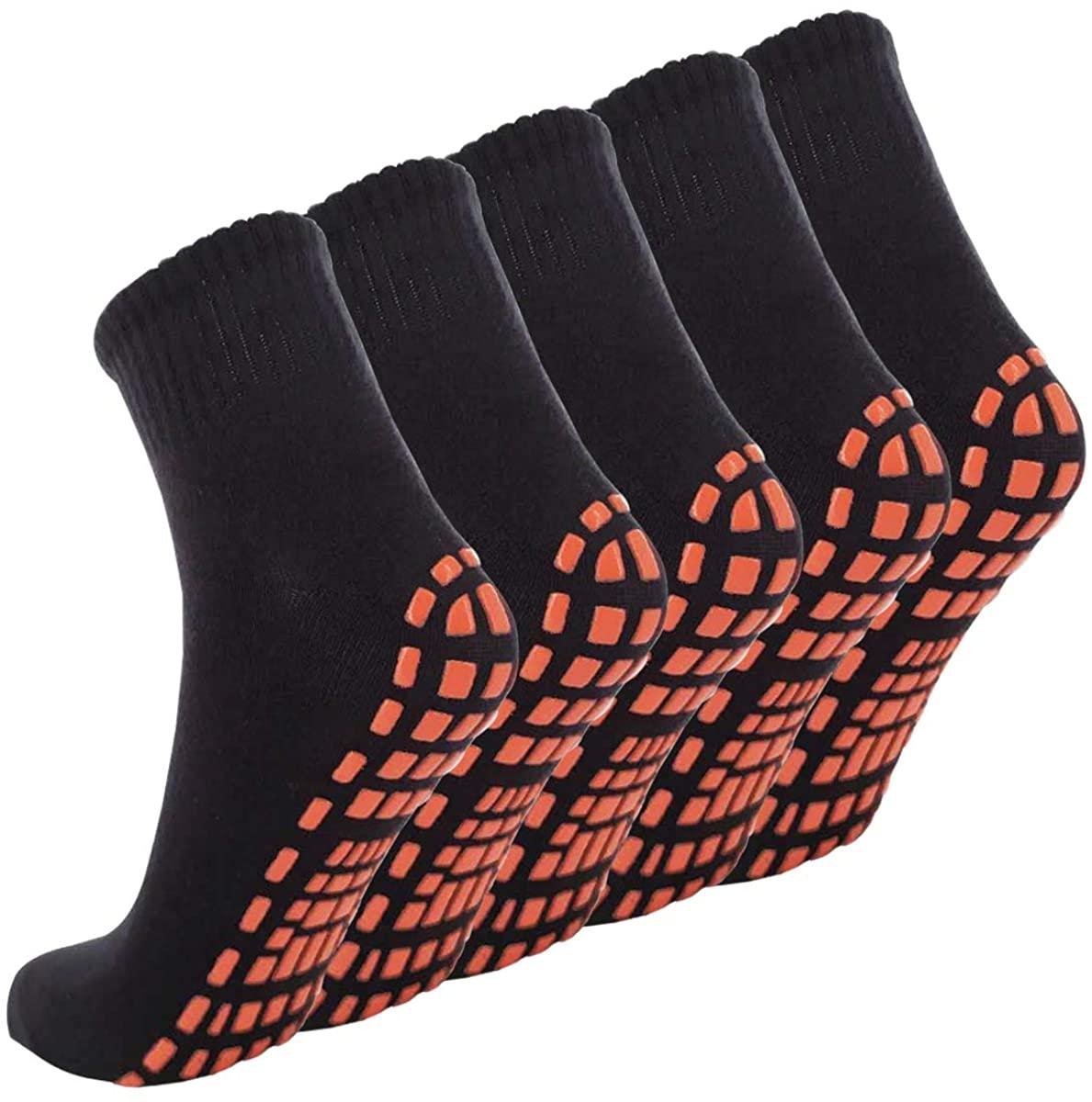 NOVAYARD Non Skid Socks for Women Men Yoga Pilates Exercise With Grips Non Slip Hospital Socks 5 Pair