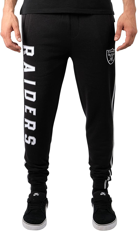 Ultra Game NFL Las Vegas Raiders Mens Jogger Pants Active Basic Fleece Sweatpants, Team Color Stripe, Small
