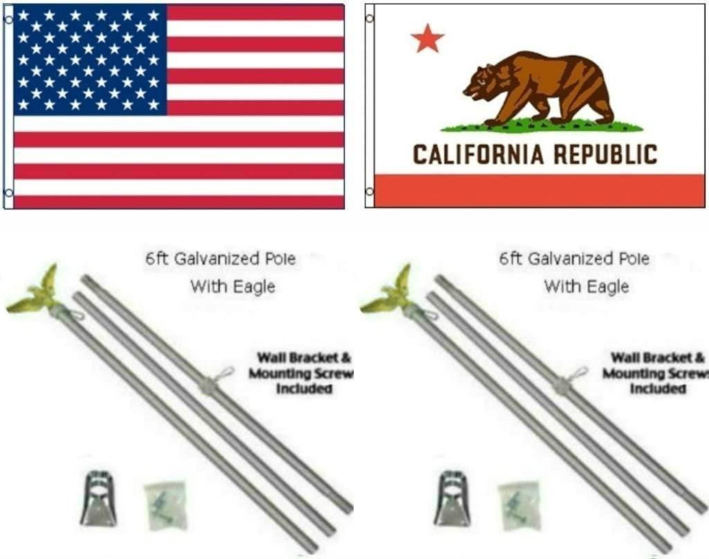 AES 3x5 3x5 USA American w/State of California Flag w/Two 6 Galvanized Flagpole Pole Kits Eagle Topper