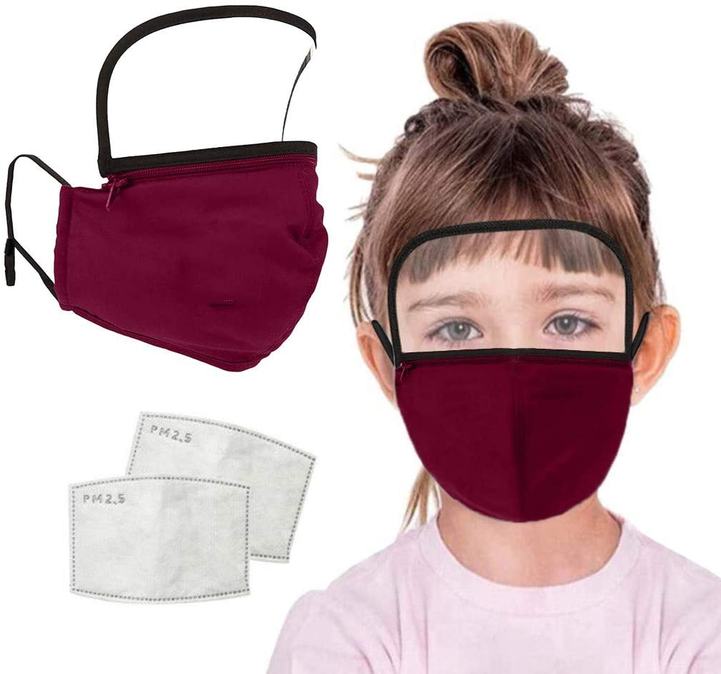 Face Protection+Filter, NOMENI Children Outdoor Washable Reusable Zipper Integrated Face Cover With Filter And Detachable Eye Protection (Red, 1+2PC)