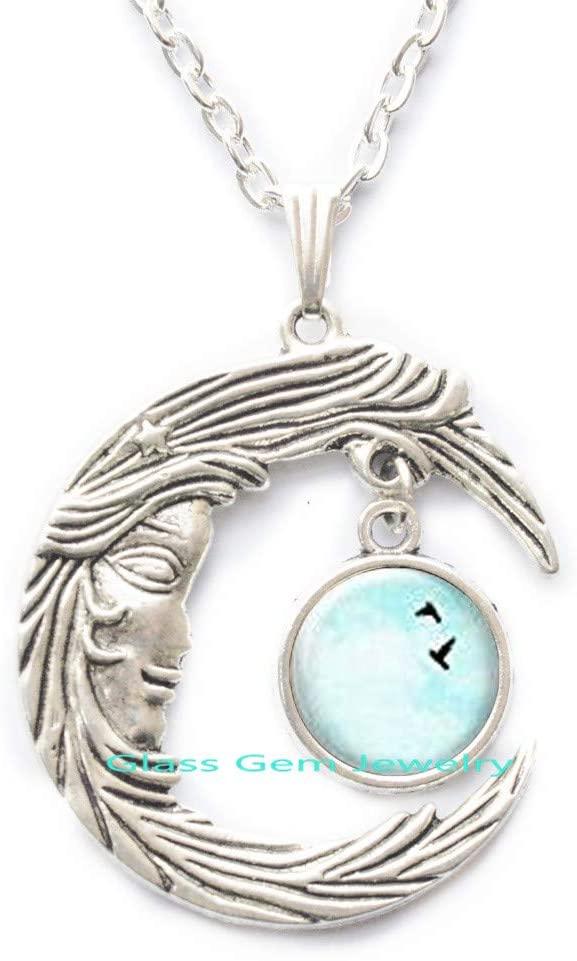 Love Birds Necklace,Love Birds Pendant,Sky Blue Necklace,Bird Necklace,Bird Pendant,Gifts for Friend,Nature Jewelry,Q0162
