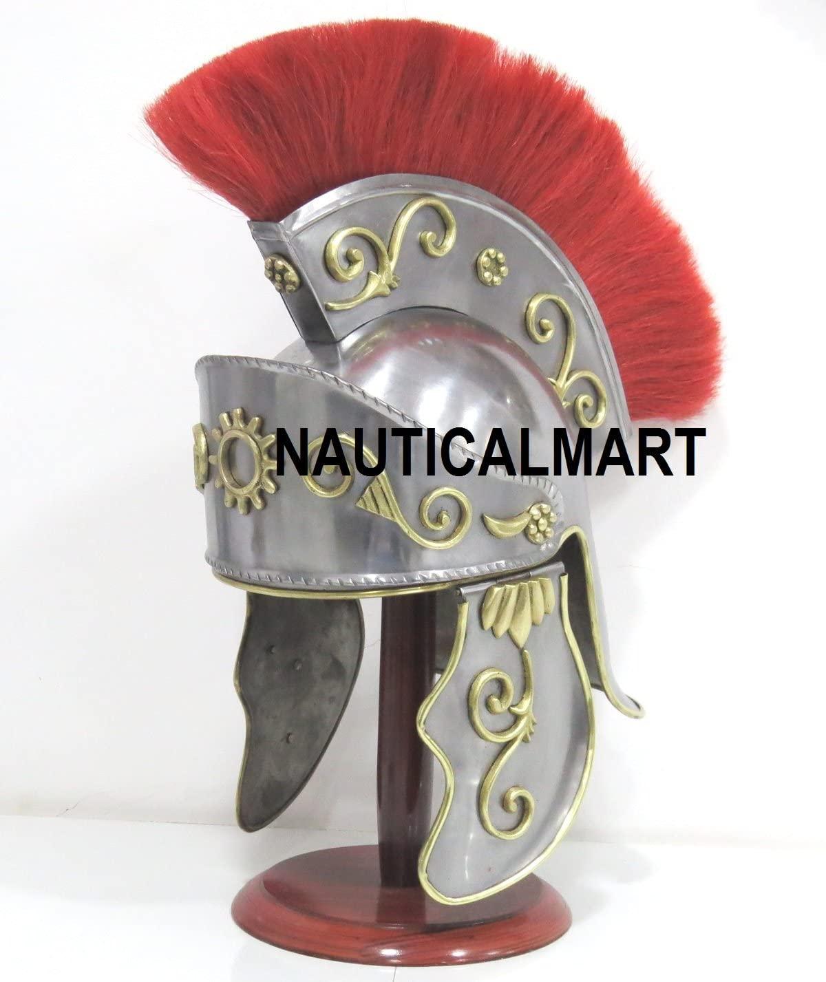 NauticalMart Medieval Greek Corinthian Helmet Red Plume Roman Knight Gallic Trojan Troy Standard Silver Red