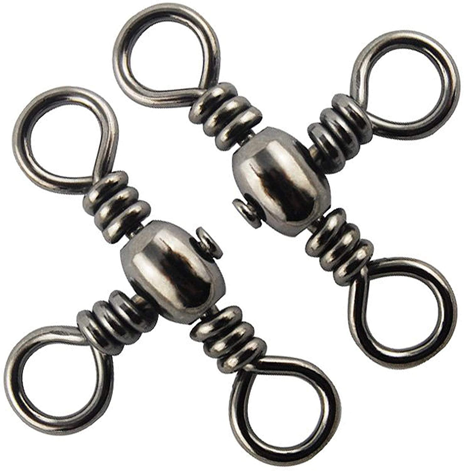 Jumping fish 30/50pcs Three 3 Way Barrel Fishing Swivels Cross Line T Turn Crossline Fishing Connector Fast Copper with Stainless Steel Tackle Accessories Size: #2-#10