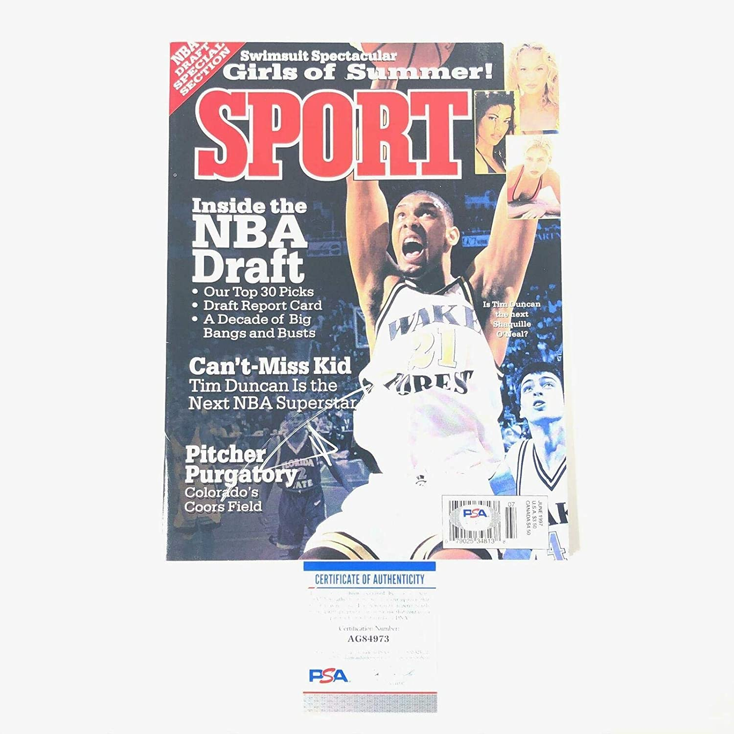 Tim Duncan signed Sport Magazine Autographed Wake Forest - PSA/DNA Certified - Autographed NBA Magazines