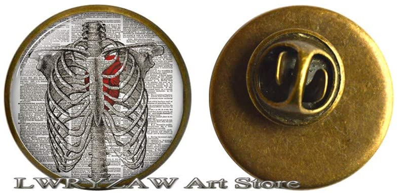 Steampunk Ribcage Brooch, Steampunk Rib Pin, Steampunk Skeleton Brooch, Steampunk Heart Art Brooch, Ribcage Pin,M300