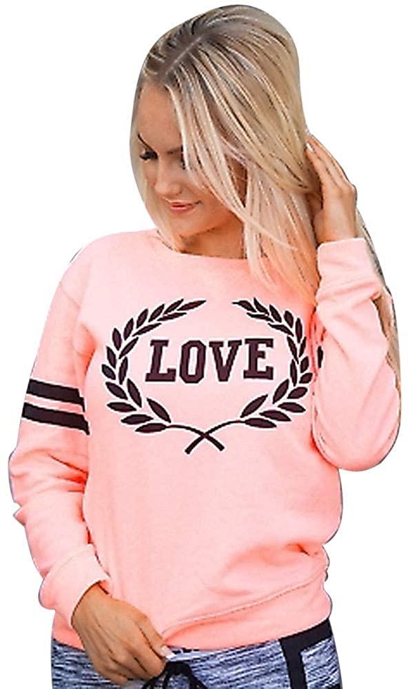 Women O-Neck Hoodie Jumper Long Sleeve Letter Print Sweatshirt Pullover Tops