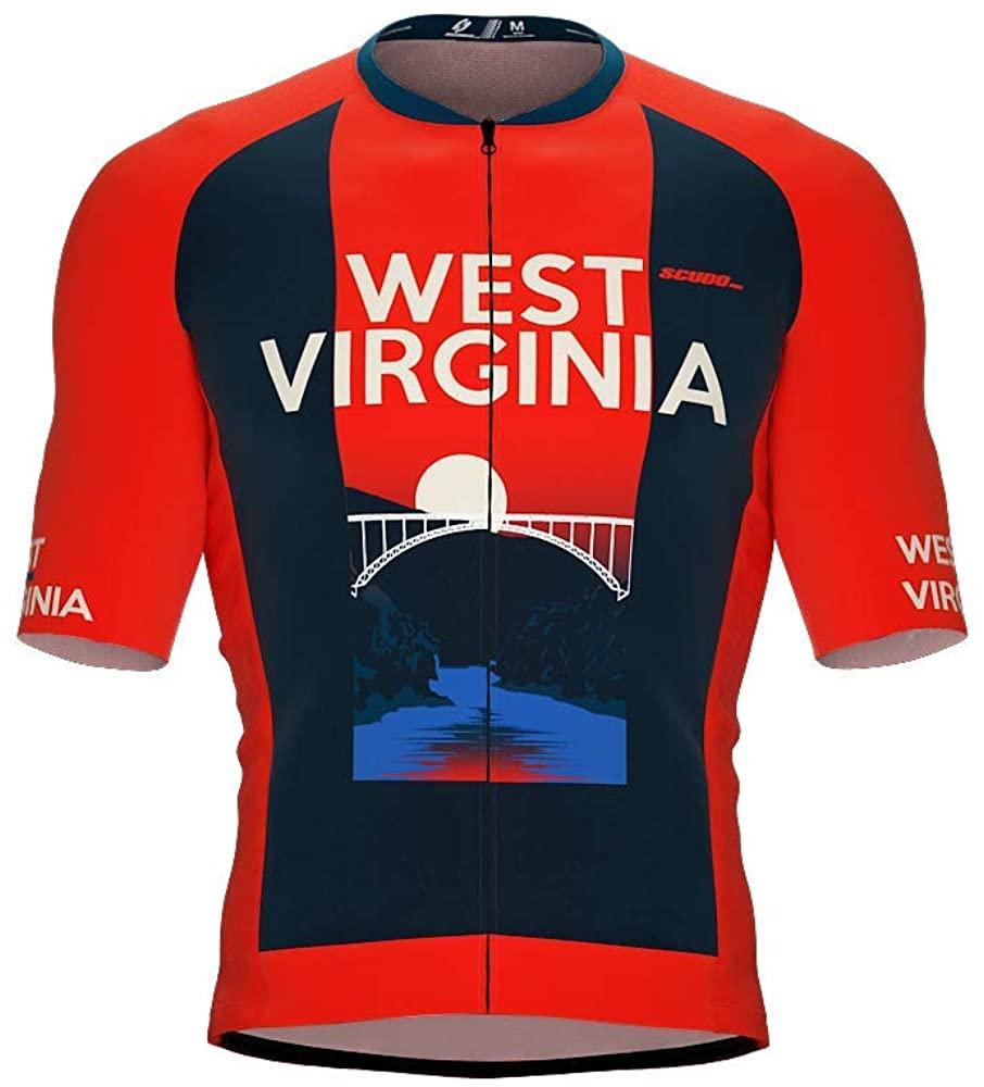 ScudoPro Pro-Elite Short Sleeve Cycling Jersey West Virginia USA State Icon Landmark Symbol Identity for Men