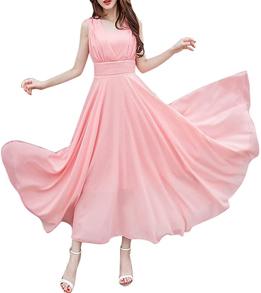 Plus Size Dresses,Womens Chiffon Maxi Beach Sleeveless Bridesmaid Party Cocktail Prom Long Dress