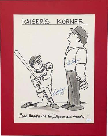 Reggie Jackson & Ken Kaiser dual signed Kaisers Corner New York Yankees Big Dipper photo/artwork Matted 19.5x24.5#44- Holo - JSA Certified