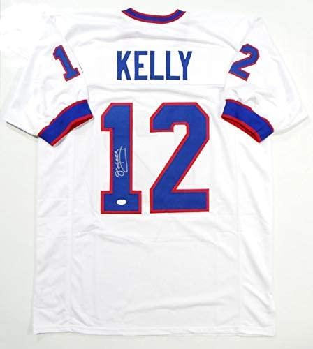 Jim Kelly Autographed Jersey - White Pro Style Witness *1 - JSA Certified - Autographed NFL Jerseys