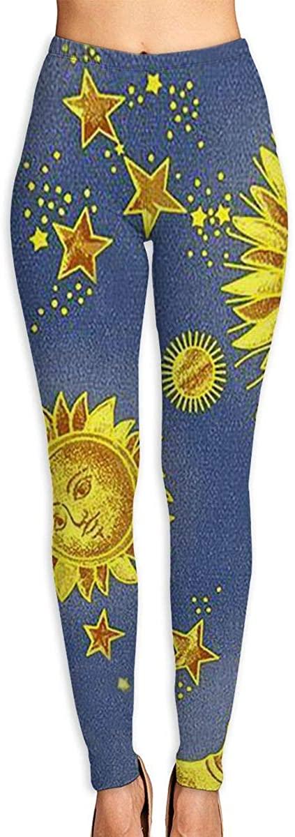 Womens Yoga Pants Leggings Sacred Moon Sun Running Workout Pilates Long Trousers Athletic Gym