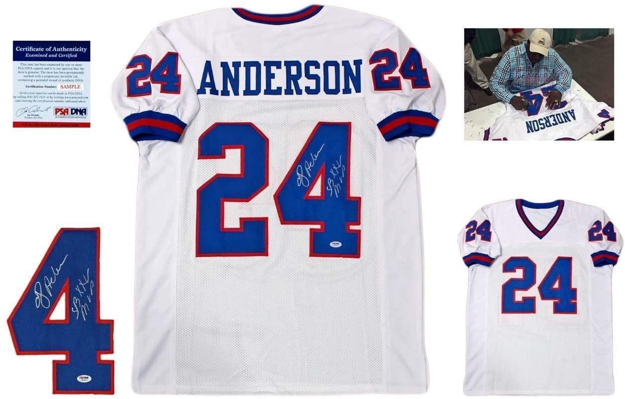 Ottis Anderson Autographed Jersey - OJ w Photo White - PSA/DNA Certified - Autographed NFL Jerseys