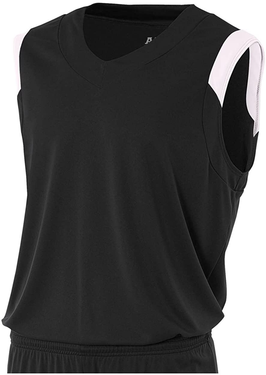A4 Sportswear Black/White Adult Small Moisture Management V-Neck Muscle (Blank) Uniform Jersey Top