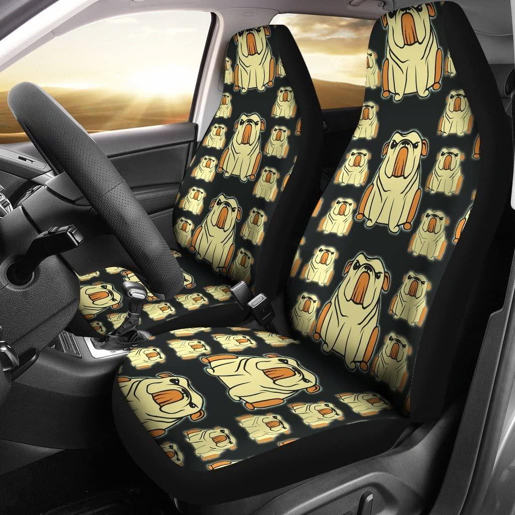 Cartoonized Bulldog Pattern Print Car Seat Covers