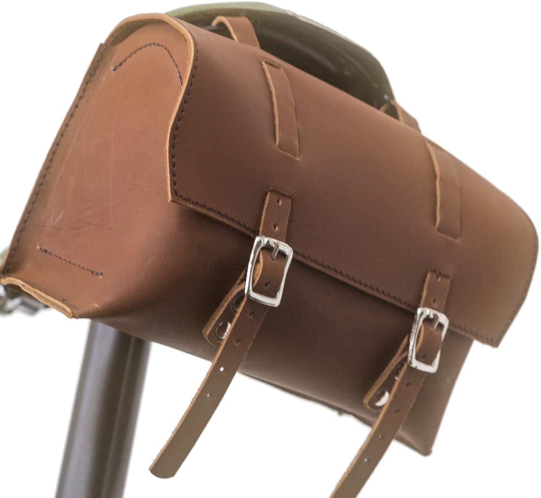 LondonCraftwork Large Bicycle Bag Saddle/Handlebar/Frame Bag in Vintage Brown Leather XL-RAW