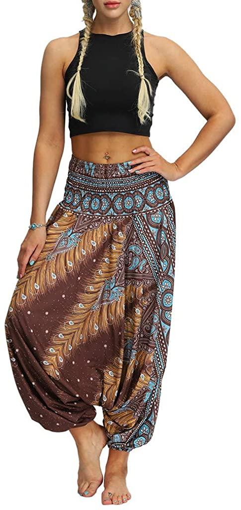 Weiliru Women Casual Loose Yoga Pants Trousers Baggy Boho Aladdin Jumpsuit Harem Pants Leggings