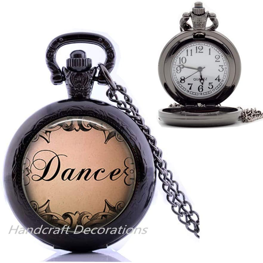HandcraftDecorations Dance Pocket Watch Necklace-Dance Jewelry-Dancer Gift-Ballerina Gift-Ballerina Pocket Watch Necklace-Dance Recital Gift.F292