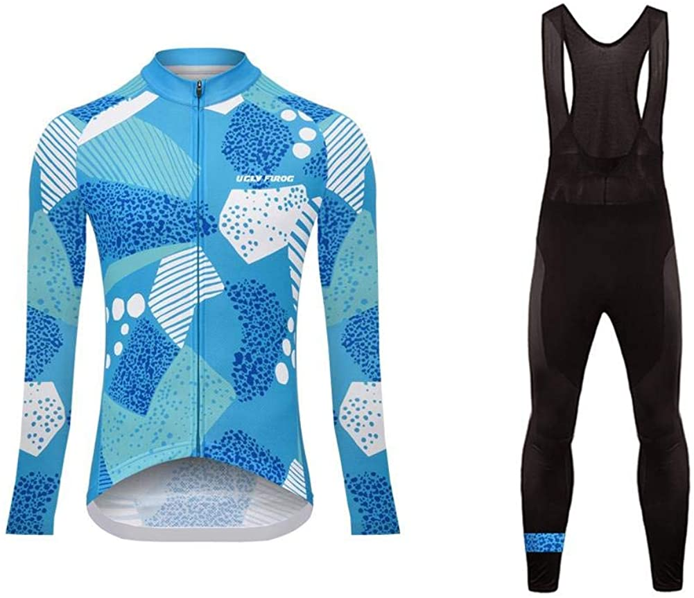 Uglyfrog Female's Outdoor Breathable Sports Long Sleeve Cycling Jersey and 3D Padded Braces Tights Bib Pants Set