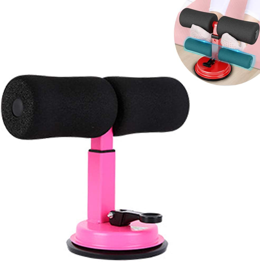Sit Up Bar,Thigh Trimmer Belly Movement Sit Up Aid Upgraded Design Suction Sit-up Floor Bar with Padded Ankle and Support Rode and 3 Gear Positions for Home Work or Travel (Horizontal bar Pink)