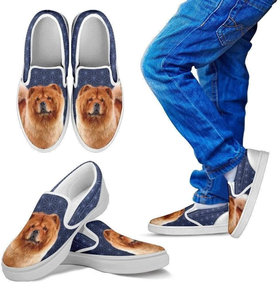 Paws With Attitude Chow Chow Dog Print Slip Ons for Kids-Express Shipping